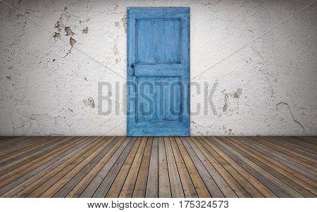 Old empty room with wooden floor and blue door. 3d rendering