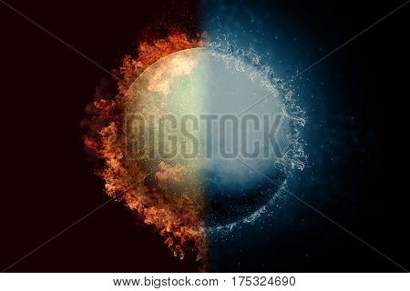 Planet Uranus in fire and water. Concept sci-fi artwork