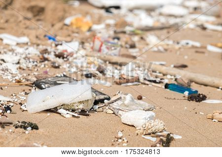 Beach polluted with plastic garbage Enviroment issue