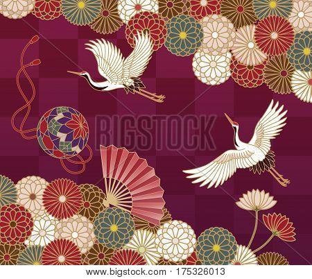 Cranes handball hand fan and chrysanthemums Japanese traditional pattern