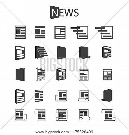 Newspaper black logo set isolated on white background. Vector Illustration