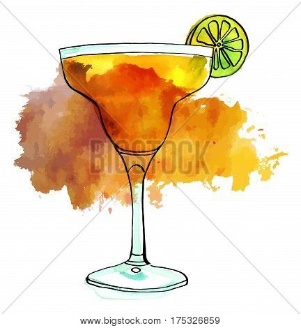 A vector and watercolour drawing of a Margarita cocktail with a slice of lime, isolated on white background, with a textured stain