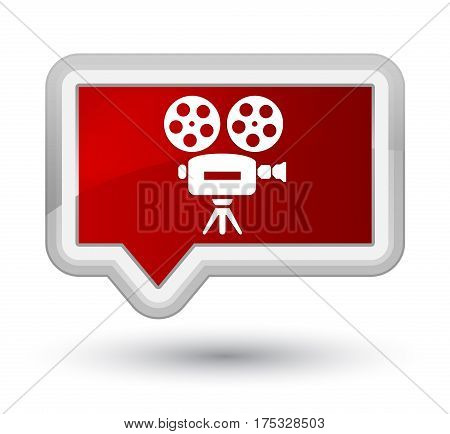 Video Camera Icon Prime Red Banner Button