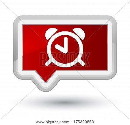 Alarm Clock Icon Prime Red Banner Button