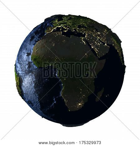 Africa On Earth At Night Isolated On White