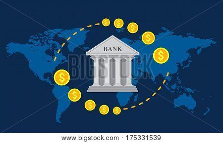 Flat design vector illustration banking concepts. Global foreign exchange market.