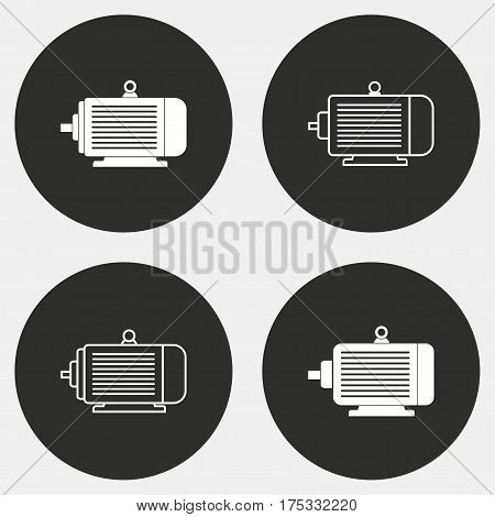Electric motor vector icons set. White illustration isolated for graphic and web design.