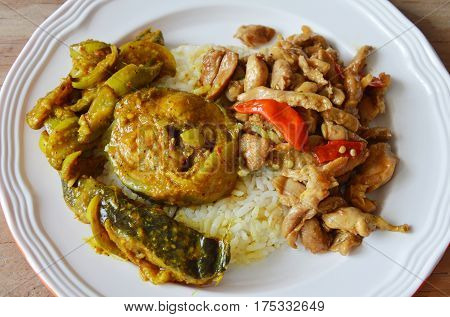 spicy stir fried chicken with basil leaf and catfish curry on rice