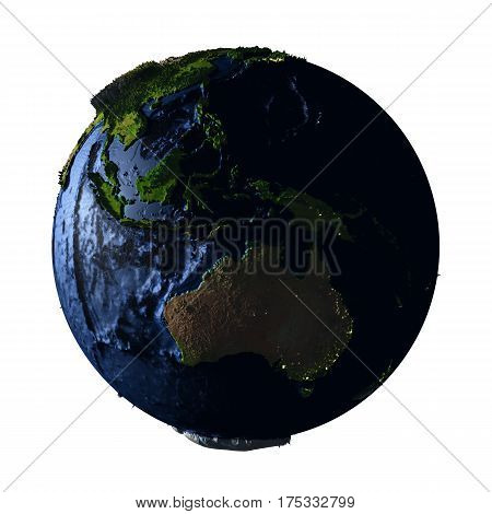 Australia On Earth At Night Isolated On White