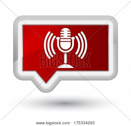Mic Icon Prime Red Banner Button
