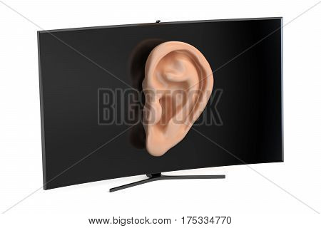 Tv set with ear intelligence and spying concept. 3D rendering