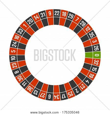 Roulette Casino Wheel Template with Zero on White Background. Vector illustration