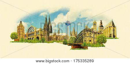 high resolution panoramic watercolor KOLN city illustration