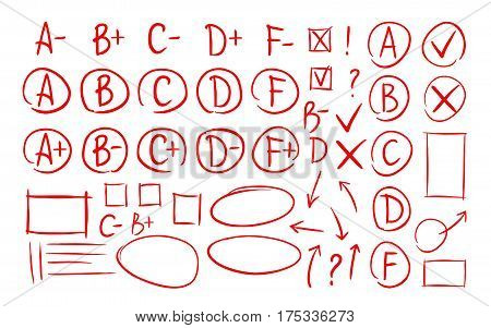 Hand drawn grade results, check marks set of icons. School, education, business symbol. Exam vector illustration