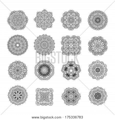 Set mandalas. Decorative elements of decoration. Ideal for coloring book page template.