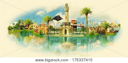 IZMIR city water color painting panoramic illustration