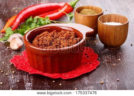 Adjika or ajika Hot spicy flavored sauce Georgian cuisine