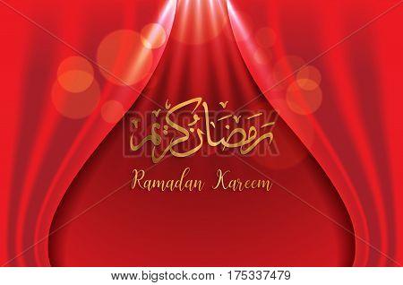 ramadan backgrounds vectorArabic Islamic calligraphy of Ramadan kareem on red curtian background.