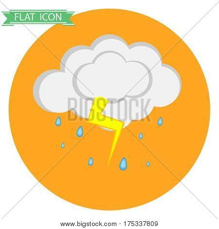 Cloud with rain and thunder. Flat design, vector illustration, vector.