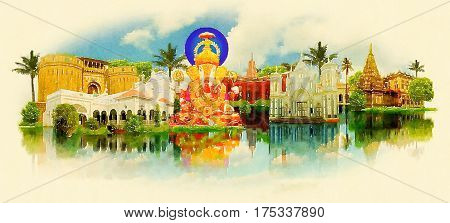 PUNE city water color painting panoramic illustration