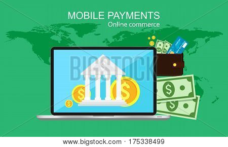 Online payment, finance, banking, online commerce. Vector illustration.