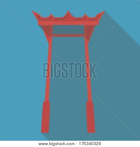 Vector illustration long shadow flat icon of japanese temple torii gate