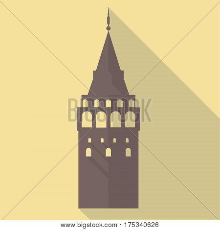 Vector illustration long shadow flat icon of galata tower - istanbul - turkey