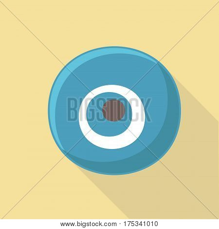 Vector illustration long shadow flat icon of evil eye