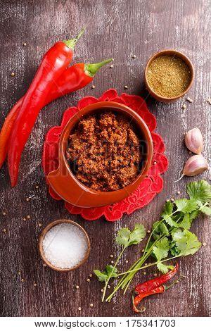 Adjika or ajika Hot spicy flavored sauce Georgian cuisine Top view