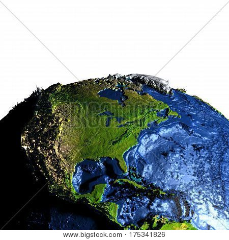 Central And North America On Earth With Exaggerated Mountains