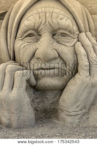 Jesolo Italy July 19 2016: sand sculptures exhibition in Jesolo (VE) ITALY. Theme of the show: the European capitals.