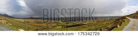 Landscape in Irish Connemara with Very Big Rainy Clouds