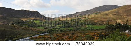 Some Trees and Little Mountains with a River in an Irish Countryside