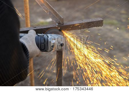 Angle Grinder Sparks Old Metal
