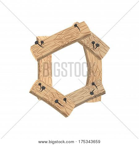 Number 0 Wood Board Font. Zero Symbol Plank And Nails Alphabet. Lettering Of Boards. Country Chipboa