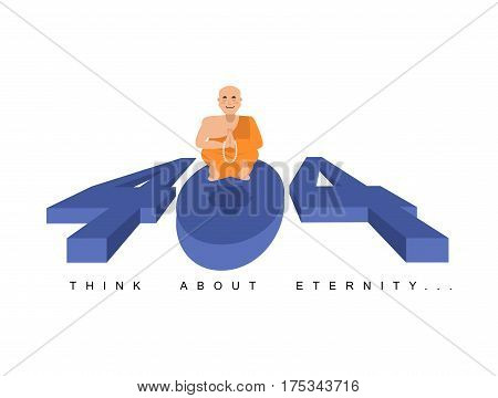 Error 404.  Buddha Meditating. Think About Eternity.  Page Not Found Template For Website. Page Lost