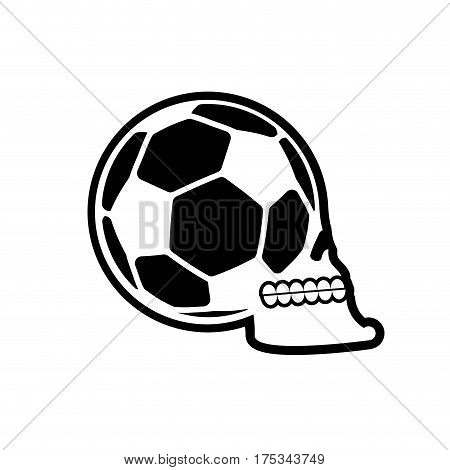 Soccer Ball Skull. Football Fans Emblem. Skeleton Head. Symbol For Sport Lover