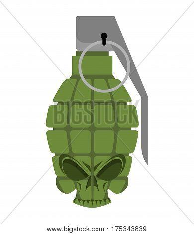 Grenade Skull. Head Skeleton Military Ammunition. Army Bomb Skull