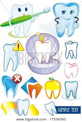 Happy smiling Tooth on white background - vector set illustration. Twelve Medical icons of teeth. - Part 1. Collection stomatology isolated different symbols.