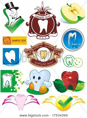 Happy smiling Tooth on white background - vector set illustration. Thirteen Medical icons of teeth. - Part 3. Collection stomatology isolated different symbols.