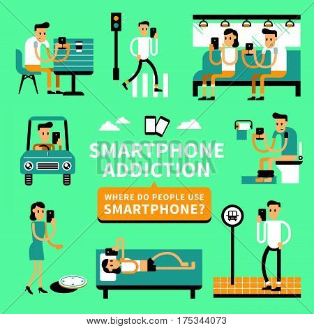 Smart phone addiction phenomenon in flat design