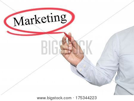 Hand of man write text Marketing with black color isolated on white background concept of adoption to promote your business for organization or work design to accompanying presentation.
