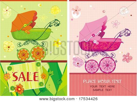 Baby girl birthday floral arrival announcement card over light pattern. Illustration of a pram for a tot.