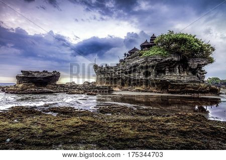 Tanah Lot Water Temple In Bali. Indonesia Nature Landscape. Famous Bali Landmark , Vintage Effect