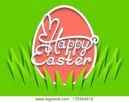 Happy Easter hand lettering in egg shape. Inscription with Easter Bunny shape on green background. Vector illustration made in paper cut out style.