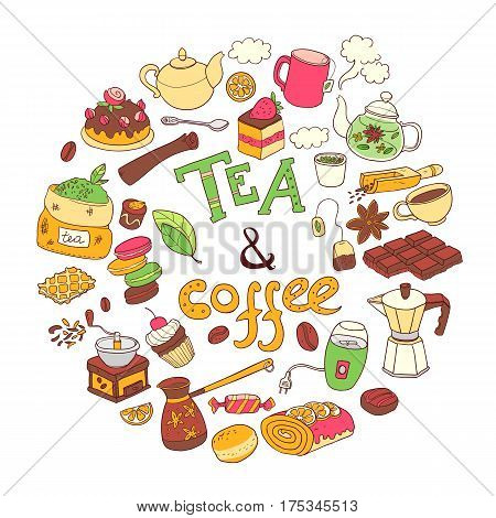 Vector round illustration, doodle tae and coffee. Equipment and dessert, spoon, sweets, cake, cup, teapot, bakery and cookery. Color. Lettering.