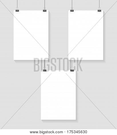 Vector template of poster on clips . Vertical blank A4 mockup advertising banner on grey background