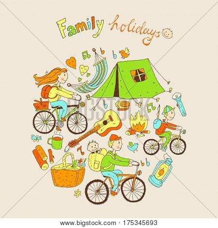 Round vector illustration with friendly family and camping equipment: mum, dad, son, tent, picnic basket, guitar.Cute doodle cartoon style.