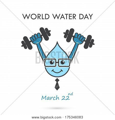 World water day illustration cartoon design.Water cartoon mascot character.Water drop icon vector logo design template.World Water Day idea campaign.Vector illustration