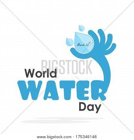 World water day illustration cartoon flat design.Water drop icon vector logo design template.World Water Day idea campaign.Vector illustration